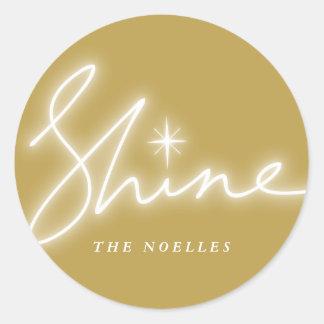 Shine Handwrite Script Gold Modern Holiday Sticker