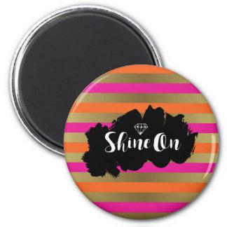 Shine On Pink Orange & Faux Gold Metallic Stripe Magnet