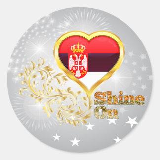 Shine On Serbia Round Stickers
