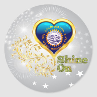 Shine On South Dakota Round Stickers