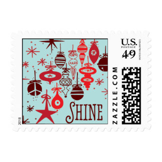 Shine Ornaments - Red & Light Blue Postage Stamps
