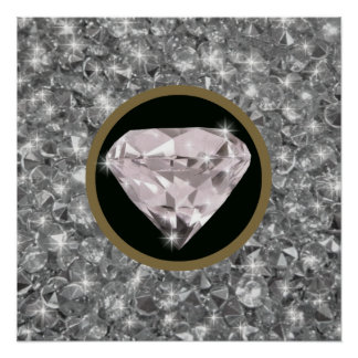 shine printed shaped diamond poster