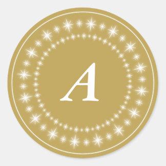 Shine Stars Gold Monogram Elegant Holiday Sticker