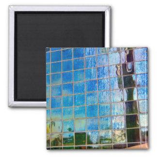 shiney blue tile refrigerator magnet