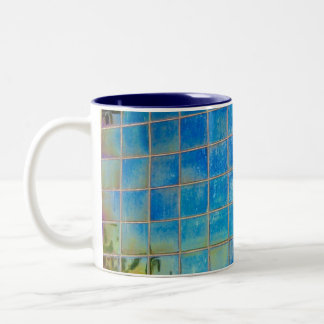 shiney blue tile Two-Tone coffee mug