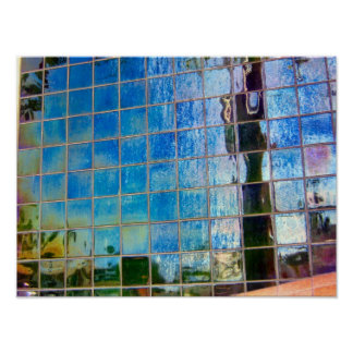 shiney blue tiles print