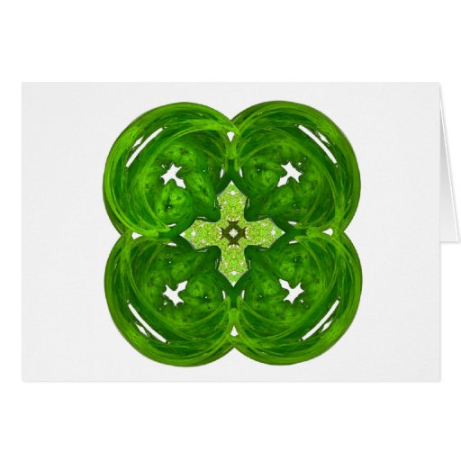 Shiney Fractal Art Four Leaf Clover Greeting Card