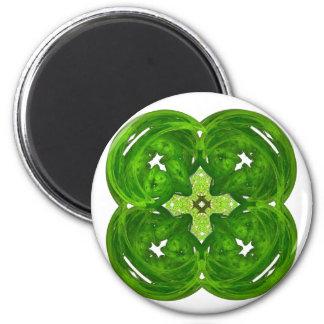 Shiney Fractal Art Four Leaf Clover 2 Inch Round Magnet