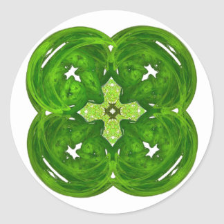 Shiney Fractal Art Four Leaf Clover Round Stickers
