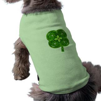 Shiney Fractal Art Four Leaf Clover with Stem Doggie T Shirt