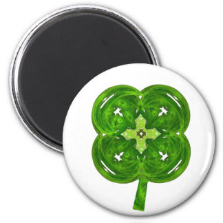 Shiney Fractal Art Four Leaf Clover with Stem 2 Inch Round Magnet