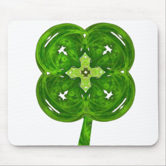 Shiney Fractal Art Four Leaf Clover with Stem Mouse Pad