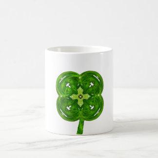Shiney Fractal Art Four Leaf Clover with Stem Classic White Coffee Mug