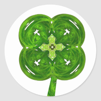 Shiney Fractal Art Four Leaf Clover with Stem Stickers