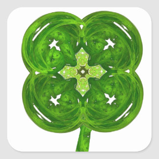 Shiney Fractal Art Four Leaf Clover with Stem Square Sticker