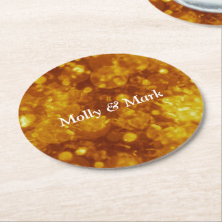 shining and shimmering,golden round paper coaster
