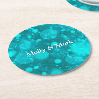 shining and shimmering,turquoise round paper coaster