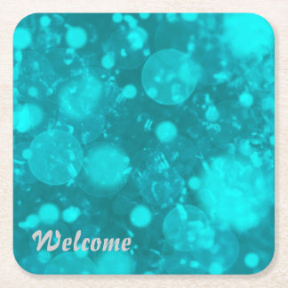 shining and shimmering,turquoise square paper coaster
