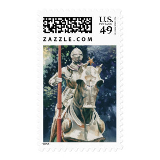 """""""Shining Armor"""" Knight Watercolor Postage Stamp"""