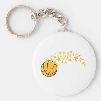 Shining Basketball Star Basic Round Button Keychain
