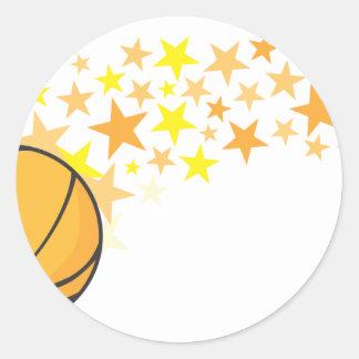 Shining Basketball Star Classic Round Sticker