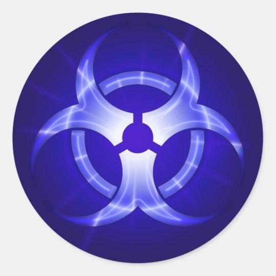 Shining Blue Biohazard Symbol Sticker Zazzle