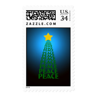 Shining Blue Peace Tree Postcard Postage Stamp