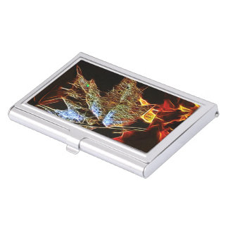 Shining Fall Leaf Abstract Business Card Case