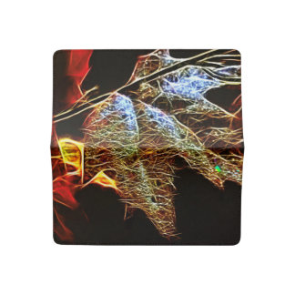 Shining Fall Leaf Abstract Checkbook Cover