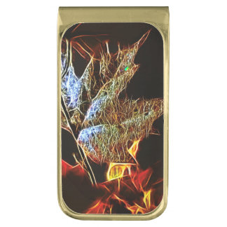 Shining Fall leaf Abstract Gold Finish Money Clip