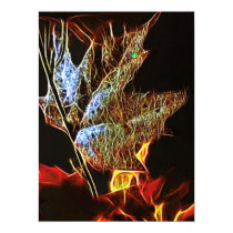 Shining Fall Leaf Abstract Invitation