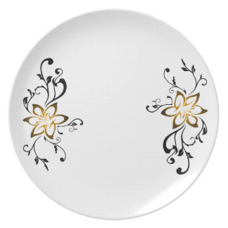 shining flower tribal swirl art dinner plates