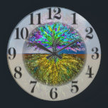"""Shining From Within Large Clock<br><div class=""""desc"""">An Illuminated Tree in Gold,  Purple and Blue Colors.</div>"""