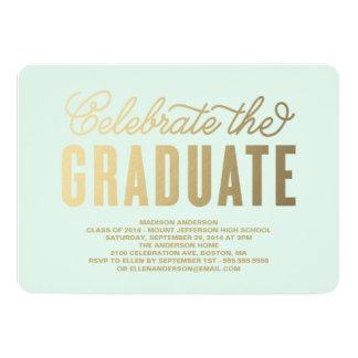 "Shining Gold | Graduation Party Invitation 5"" X 7"" Invitation Card"
