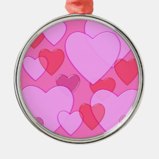 Shining heart Valentine background pink Round Metal Christmas Ornament