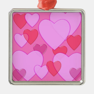 Shining heart Valentine background pink Square Metal Christmas Ornament