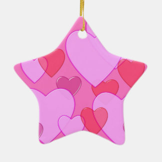 Shining heart Valentine background pink Double-Sided Star Ceramic Christmas Ornament