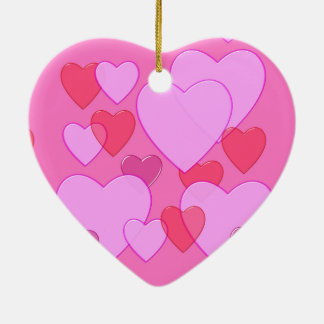 Shining heart Valentine background pink Double-Sided Heart Ceramic Christmas Ornament