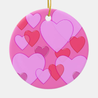 Shining heart Valentine background pink Double-Sided Ceramic Round Christmas Ornament