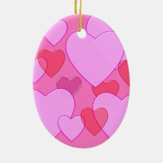 Shining heart Valentine background pink Double-Sided Oval Ceramic Christmas Ornament