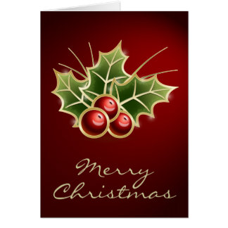Shining Holly Berry Christmas design Greeting Card