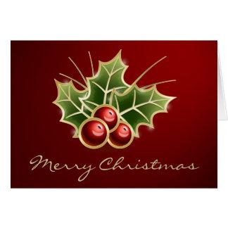 Shining Holly Berry Christmas design Card