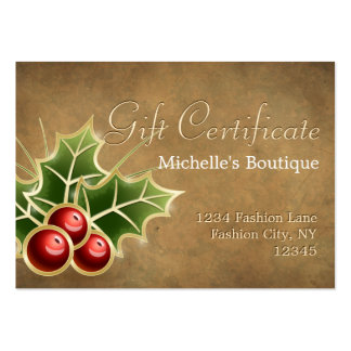 Shining Holly Berry Christmas Gift Certificate Large Business Cards (Pack Of 100)