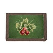 Shining Holly Berry Christmas green Trifold Wallet