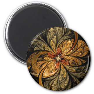 Shining Leaves Fractal Art 2 Inch Round Magnet