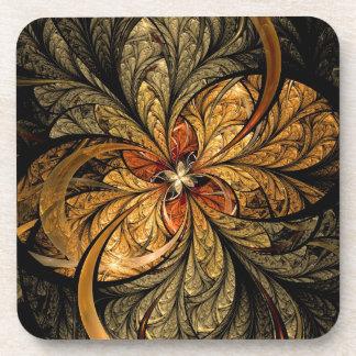 Shining Leaves Fractal Art Beverage Coaster