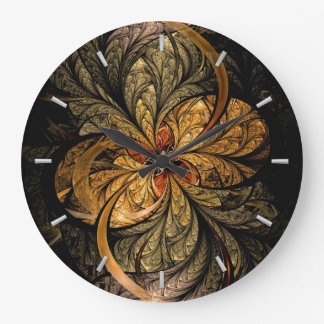 Shining Leaves Fractal Art Large Clock