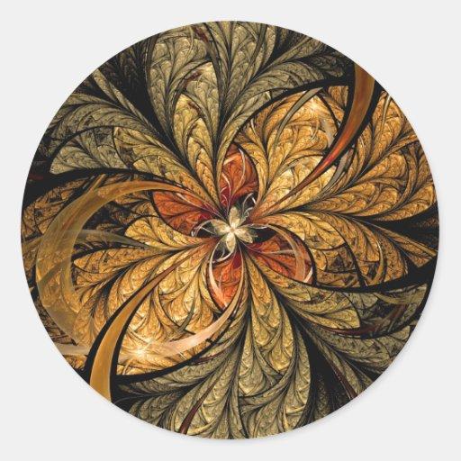 Shining Leaves Fractal Art Round Sticker