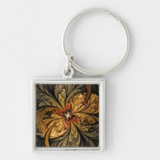 Shining Leaves Fractal Art Silver-Colored Square Keychain