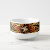 Shining Leaves Fractal Art Soup Bowl With Handle